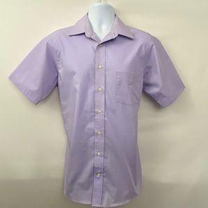 Men's Stafford Purple Casual Shirt Size 15 1/2 X17